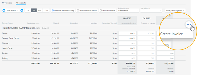 Create invoices from the My Forecasts or All Forecasts screens