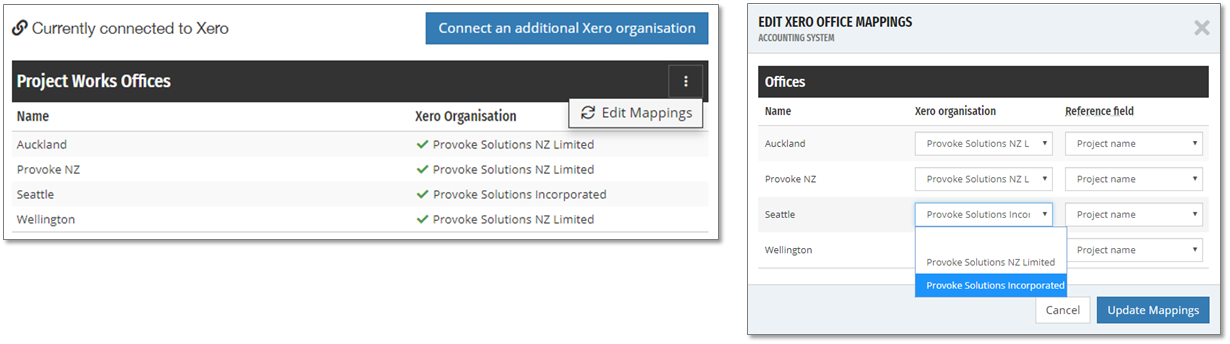 Projectworks offices can be mapped to different Xero organisations