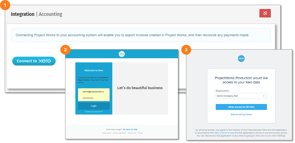 How to establish the connection between Projectworks and Xero