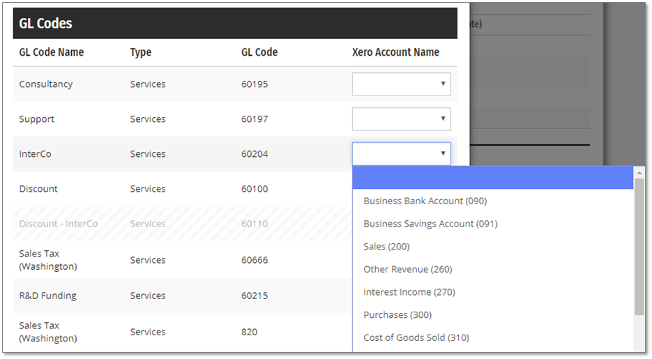 Map the Projectworks GL Codes to the applicable Accounts in Xero
