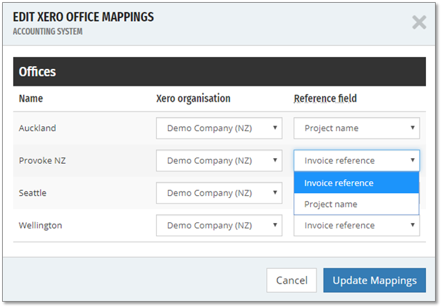 The Xero reference field can be populated with either the Projectworks invoice reference, or the name of the project the invoice is for