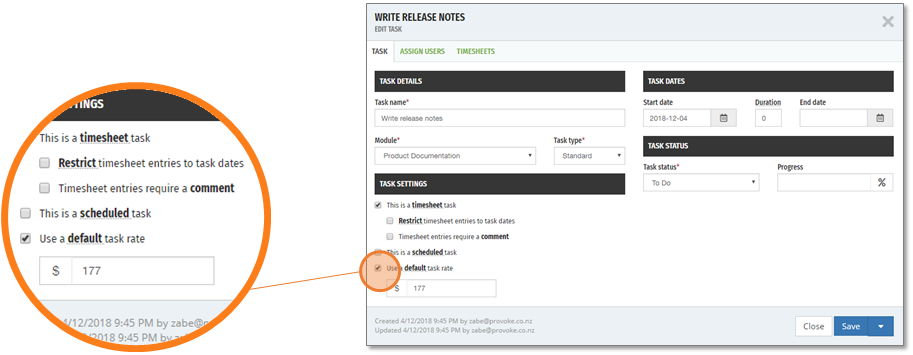 A default (over ride) rate can be set on a task