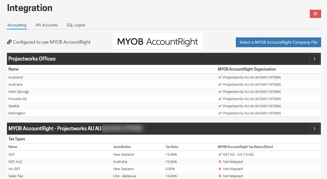 MYOB AccountRight inegration