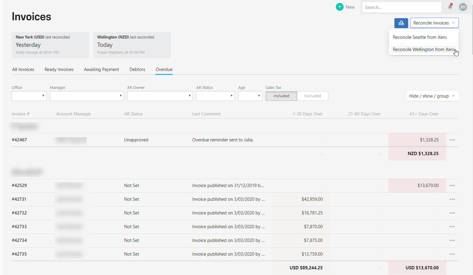 See all invoices whtih are overdue, grouped how you want to see them