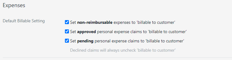 New settings to control default behaviour of expenses
