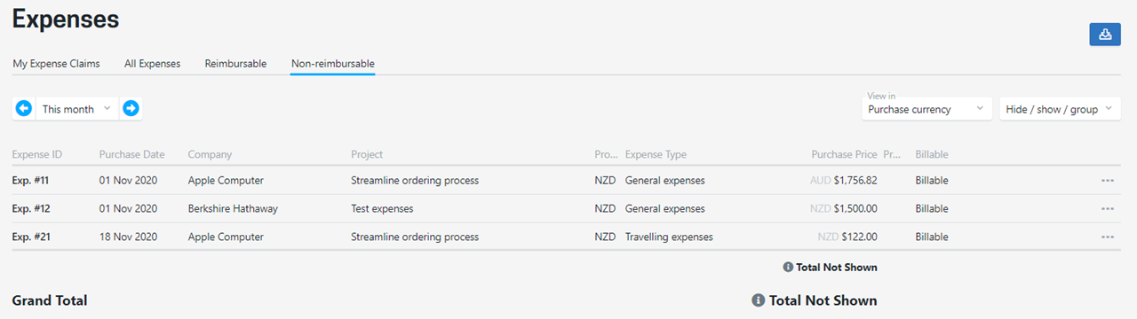 New screens for reimbursable and non-reimbursable expenses have been added