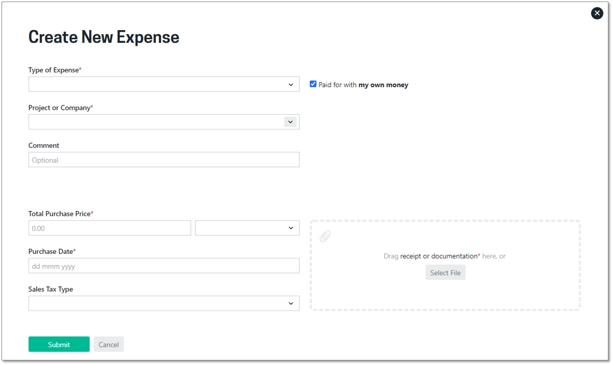 Add expense form
